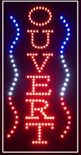 Enseigne lumineuse à LED OUVERT (vertical) Bleu/Blanc/Rouge 60x30x2.5cm