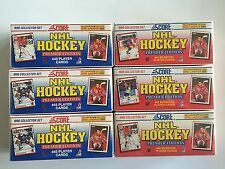 Lot of (6) 1990-91 Score Hockey 445 Card Factory Sets- 3 English/3 Bilingual