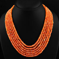 RARE 397.00 CTS NATURAL 6 STRAND RICH ORANGE CARNELIAN FACETED BEADS NECKLACE