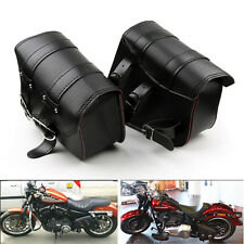 2X Motorcycle Saddle Bags Side Leather For Harley Sportster XL883 1200 Black D