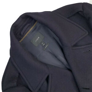 Mens 40 / M J CREW Navy Blue 100 % Cashmere Navy Blue Double Breast Pea Coat