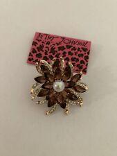 & Clear Rhinestone Flower Brooch-Bj84641 Betsey Johnson Faux Pearl Crystal Amber