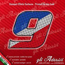 Adesivo Stickers NUMERO 9 moto auto cross gara Carbon Effect Blu White Red 10 cm