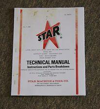 Star Machine 2001 2010 Heavy Duty Brake Lathe Instructions Amp Parts Breakdown
