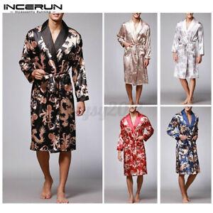 UK STOCK Men Satin Silky Kimono Pajamas Bathrobe Sleepwear Nightwear Robe Gown