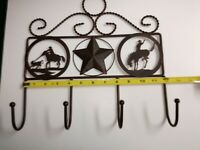 New Bronze color Metal Horse Cowboy Western Star Coat Hat Key 4 Hooks Rack 12""
