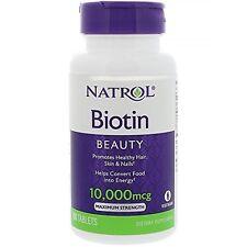 Natrol Biotin 10,000mcg Maximum Strength 100 Tablets Exp 09-30-2019