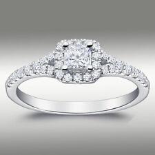 .60Ct DIAMOND ENGAGEMENT RING H/SI2 HALO PRINCESS CUT 14K WHITE GOLD SPLIT SHANK