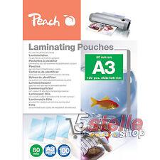 Peach 100 POUCHES A3 30x42cm 80 MICRON FOGLI LUCIDI PER PLASTIFICATRICE A CALDO