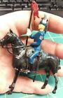 Vintage Lead Soldier on horseback - 50s era Blue uniform carrying red flag