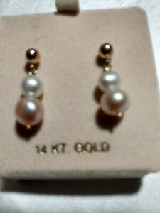 Beautiful Pink & White Pearl & Solid 14K Yellow Gold Drop Dangle Earrings *NEW*