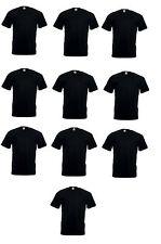 10 x Fruit of the Loom Valueweight Negro Liso Algodón Camiseta camisetas Lote