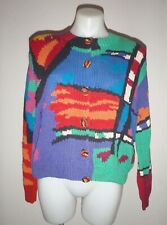80's Vintage Forenza women's small geometric multi-color cardigan sweater