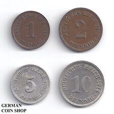 Set großer Adler 1, 2, 5, 10 Pfennig 1890 - 1916 - Deutsches Reich Kaiserreich