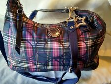 COACH Poppy Tartan Plaid Navy Blue HOBO Convertible Satchel Bag Purse