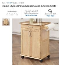 Home Styles Dainty Wood Kitchen Cart, Brown
