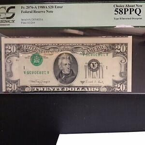 FR#2076-A 1988 $20Error.Type2 Inverted Overprint,Pcgs 58 PPQ Choice AU