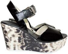 AGL Attilio Giusti Leombruni Black Patent Slingback Wedge Sandals Shoes 38.5