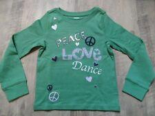Gymboree bonita camisa manga larga/Sweat Peace Love Dance verde talla 7/122 w. nuevo st817