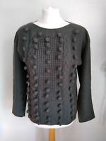 ALICE COLLINS Size 12 Moss GREEN BOBBLE & CABLE knit Long SLeeve WOOL Mix JUMPER