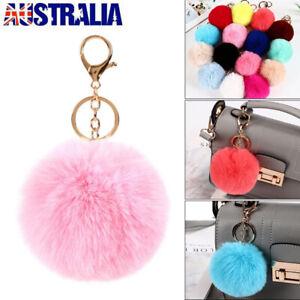 Rabbit Fur Fluffy Pompom Ball Handbag Car Pendant Charm Key Chain Keyrings NEW