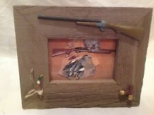 NEW River's Edge Picture Frame Barnwood Duck Hunting Shotgun Desk-Wall Mount