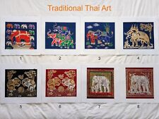 Art Silk Screen Picture Wall Home Decor Handmade Gift Thai Elephant #17
