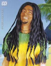 Long Black Rasta Wig Dreadlocks Bob Marley Rastafarian Tropical Fancy Dress