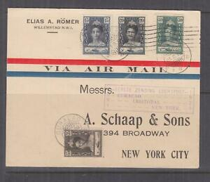CURACAO, 1929 First Flight cover to New York, 15c., 20c., 30c. & 35c.