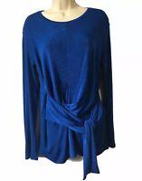 ZARA Fabulous Draped Asymmetric Tie Front Stretch Tunic Blouse Dressy Top UK 12