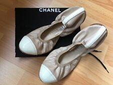 CHANEL leather cap-toe elastic ballet flats, beige, Size 38