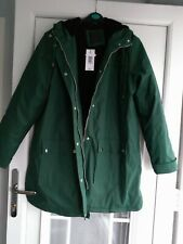 Ladies papaya Coat size 18 Green with hood part fleece  Showerproof RRP £35 BNWT