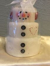 "Living Quarters Christmas Candle. Stacked snowman New! 5.5 "" High."