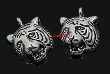 50pcs auspicious Tibet silver tiger head Jewelry Finding charm pendant 18x13mm
