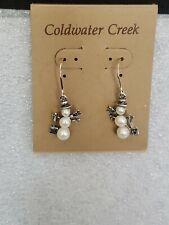 Vintage Sterling Silver & Pearl Snowman Earrings