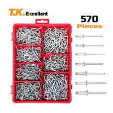 Small Head Aluminum Dome Head Blind Pop Rivets Assortment Kit,570Pcs+ Drill 3Pcs