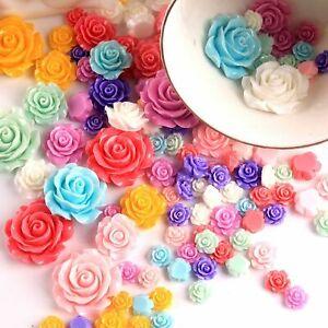 Craft DIY Mixed Color Flatback Resin Rose Flower Cabochon 6mm-28mm Embellishment
