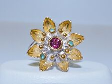 GENUINE 0.72tcw! Emerald & Rhodolite Garnet Flower Ring S/Silver 925