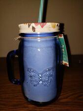 Pioneer Woman Drinking Glass Mason Jar w/ Handle, Lid & Straw 32oz Sapphire Blue