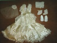 Vintage Doll Wedding Bridal Gown Dress Ivory Satin Lace Shoes Socks Veil READ