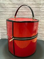 Vintage Tall Black Red HardSide Wig Box Train Case Hat Box Cosmetic Travel Bag