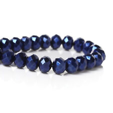 STRAND (144) OPAQUE AB NAVY BLUE CRYSTAL FACETED RONDELLE BEADS~8mm~Bracelets ()