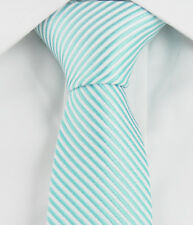 "Turquoise White Stripes Mens Skinny Slim Narrow Woven Silk 2"" Wedding Tie JT041"