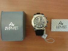 Herren Quarz Chronograph August Steiner AS 8080 BK Silikon Armband Schwarz NEU
