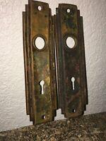 2 Vintage Skeleton Key Door Knob Back Plate's Brass or Copper.