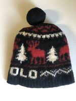 Polo Ralph Lauren Toddler Flag Reindeer Pompom Beanie Skull Hat Cap One Size