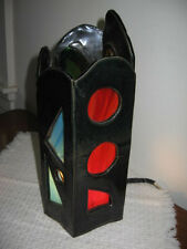 Vintage Studio Art Pottery Lamp or Candle Shade with Slag Glass Covered Openings