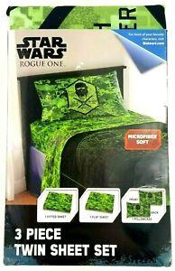 Disney Star Wars Rouge One Imperial Green Microfiber Soft 3 Piece Twin Sheet Set
