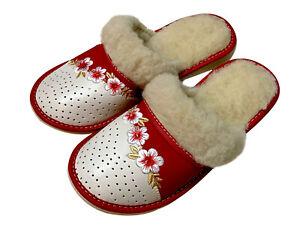 Sheepskin Ladies slippers Warm elegant Red Women mules all shoe size 4 5 6 7 8 9