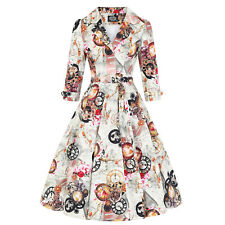 Hearts and Roses London Steampunk Clock London Icon 1950s Vintage Swing Dress